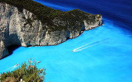 Blaue Lagune von Navagio-Strand Stockfotos