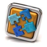 Blaue Laubsäge auf orange Knopf Stockfoto