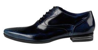 Blaue lederne männliche Schuhe Lizenzfreies Stockbild