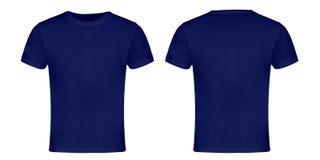 Blaue leere T-Shirt Front und Rückseite stockbild