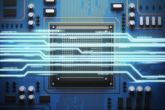 Blaue Leiterplatte mit einem Prozessor, helle Draufsicht Lizenzfreie Stockfotos