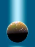 blaue Leuchte auf Planeten Lizenzfreies Stockbild