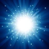 Blaue Leuchte barst mit Sternen Stockfotografie