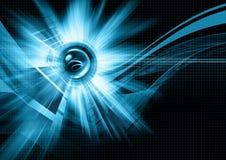 Blaue Leuchten, Kugel und Rasterfeldabbildung Stockfotografie