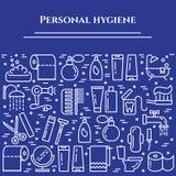 Blaue Linie Fahne der persönlichen Hygiene Satz Elemente der Dusche, der Seife, des Badezimmers, der Toilette, der Zahnbürste und Lizenzfreie Stockfotografie