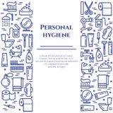 Blaue Linie Fahne der persönlichen Hygiene Satz Elemente der Dusche, der Seife, des Badezimmers, der Toilette, der Zahnbürste und vektor abbildung