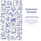 Blaue Linie Fahne der persönlichen Hygiene Satz Elemente der Dusche, der Seife, des Badezimmers, der Toilette, der Zahnbürste und Stockfotos