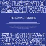 Blaue Linie Fahne der persönlichen Hygiene Satz Elemente der Dusche, der Seife, des Badezimmers, der Toilette, der Zahnbürste und Lizenzfreies Stockfoto