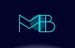 blaue Linie Kreisalphabetbuchstabelogoikonen-Schablone vecto der Bandmitte m b lizenzfreie abbildung
