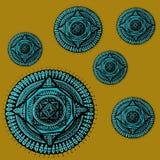 Blaue Mandala im Gelb Lizenzfreies Stockfoto
