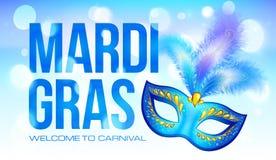 Blaue Mardi Gras-Fahnenschablone mit Karnevalsmaske Stockfoto