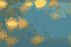 Blaue Marmormuster und Patinabeschaffenheit mit Goldfarben lizenzfreie abbildung
