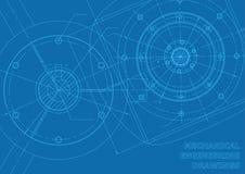 Blaue Maschinenbaukonstruktionszeichnungen Stockfoto