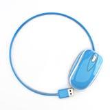 Blaue Maus in Form eines Kreises mit Raum für Ihren Text oder Kopienraumanzeige Lizenzfreie Stockfotos