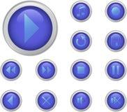 Blaue Mediatasten eingestellt Lizenzfreie Stockbilder
