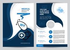 Blaue medizinische Broschüre A4 Stockfotografie