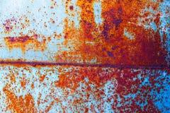 Blaue Metallwand mit Rost Lizenzfreies Stockfoto