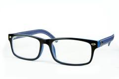 Blaue Modegläser auf weißem Hintergrund Stockfoto