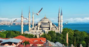 Blaue Moschee in der Türkei Stockbild