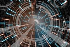 Blaue orange Kreisglühenwelle Scifi- oder Spielhintergrund Stockbild