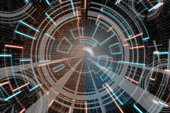 Blaue orange Kreisglühenwelle Scifi- oder Spielhintergrund Lizenzfreie Stockfotos