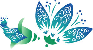 Blaue orientalische Blume Stockbilder