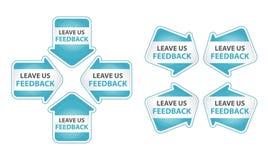 Blaue Pfeile mit Urlaub wir Feed-back-Marke Lizenzfreie Stockfotografie