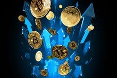Blaue Pfeilsch?sse oben mit hoher Geschwindigkeit als Preisaufstiegen Bitcoin BTC Cryptocurrency-Preise wachsen, hohes Risiko - h vektor abbildung