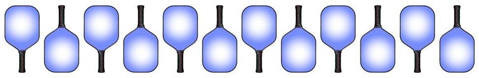 12 blaue Pickleball-Paddel oben u., die unten abwechseln Stockbilder