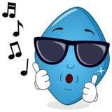Blaue Pille Viagra, das mit Sonnenbrille pfeift Stockfotos