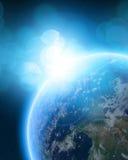 Blaue Planetenerde im Weltraum Lizenzfreies Stockfoto