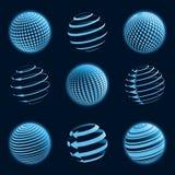 Blaue Planetenikonen. Stockfotografie