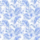 Blaue Plumeriablumen und exotische Palmblätter im nahtlosen tropischen Muster Weißer Hintergrund Adobe Photoshop für Korrekturen lizenzfreie abbildung