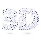 Blaue polygonale Ikone 3D lizenzfreie abbildung