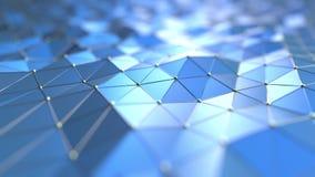 Blaue polygonale Oberfläche in Verbindung stehender loopable Bewegungshintergrund der Technologie 3D vektor abbildung