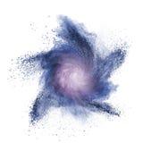 Blaue Pulverexplosion lokalisiert auf Weiß Lizenzfreies Stockfoto