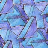 Blaue purpurrote nahtlose Beschaffenheit der Aquarell-Dreieck-Quadratgeometrie für Ihre Geschäftstapetenkunst Lizenzfreie Stockbilder