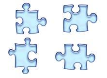 Blaue Puzzlespiel-Stücke Lizenzfreie Stockfotos