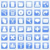 Blaue quadratische Aufkleber-Ikonen [1] Stockbild