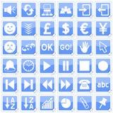 Blaue quadratische Aufkleber-Ikonen [3] Lizenzfreie Stockfotos