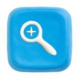 Blaue quadratische summen innen Taste laut. Ausschnittspfade Lizenzfreies Stockbild