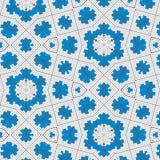 Blaue Querstickerei blüht auf einem weißen Segeltuchflechtweidenhintergrund stock abbildung