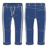 Blaue Rüttler mit elasticized Ribbing und Zugschnur an der Taille Stockfoto
