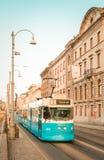 Blaue Retro- schwedische Tram Lizenzfreies Stockfoto