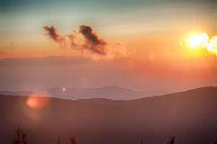 Blaue Ridge Parkway Autumn Sunset Appalachian-Berge lizenzfreie stockbilder