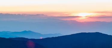 Blaue Ridge Parkway Autumn Sunset Appalachian-Berge stockbild