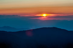 Blaue Ridge Parkway Autumn Sunset Appalachian-Berge stockfotografie