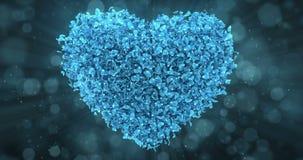 Blaue Rose Flower Petals In Lovely-Herz-Form-Hintergrund-Schleife 4k stock abbildung