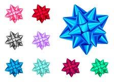 Blaue, rote, grüne, rosa, schwarze, purpurrote Geschenkbögen eingestellt Lizenzfreie Abbildung