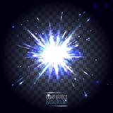 Blaue runde Explosion der Lichteffektlinse auf transparentem kariertem Lizenzfreies Stockfoto